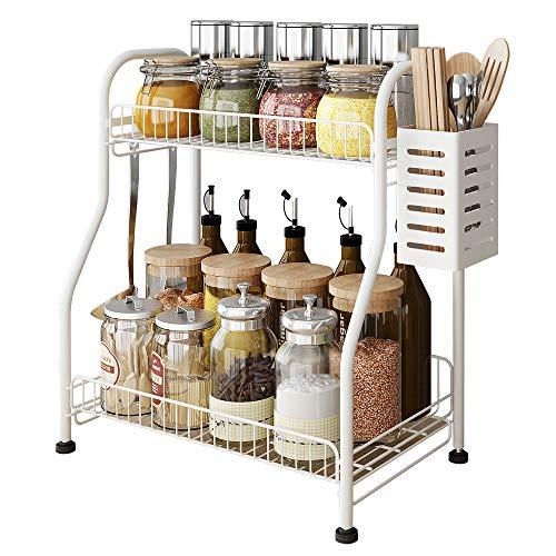 Spice Rack Organizer with Rectangle Chopstick Basket 2-Tier Bathroom Shelf Organizer with 3 Hooks Kitchen Rack Organizer for Spice Can Sauce Jars Bottle White Steel