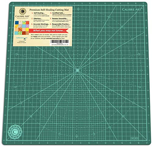 Calibre Art Self Healing Rotating Cutting Mat, Perfect for Quilting & Art Projects, 18x18 (17' Grid)