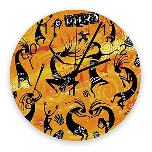 Reloj de Pared Redondo de Madera Mujer Africana Danza Tradicional Arte indígena Silencioso Sin tictac, Reloj de Pared silencioso de Cuarzo con Pilas para el hogar, Oficina, Escuela de 10 Pulgadas