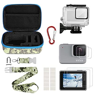 Kitspeed Accessories kit for GoPro Hero 7 White/Silver, Including Waterproof Housing Case/Portable Small Carrying case/Screen Protector/Carabiner/Camouflage Strap/Anti-Fog Insert from shen zhen shi hui na she ying qi cai you xian gong si