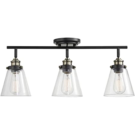 Globe Electric 59629 Jackson 3 Track Lighting, Dark Bronze, Antique Brass Accents