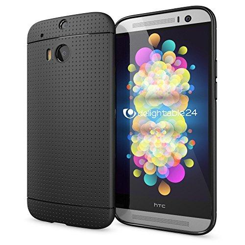 NALIA Handyhülle kompatibel mit HTC One M8 M8S, Ultra-Slim Case Cover, Dünne Punkte Schutzhülle, Etui Handy-Tasche Back-Cover Bumper, TPU Silikon-Hülle Smart-Phone - Mesh Schwarz
