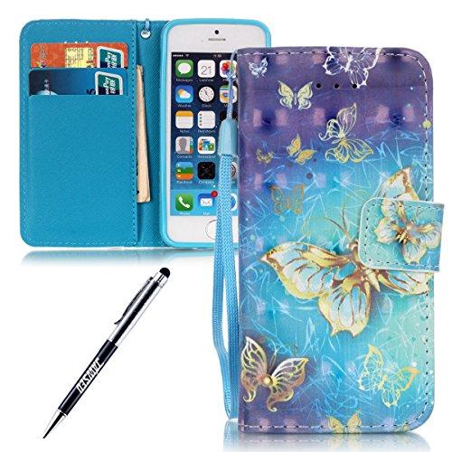 JAWSEU - Zapatillas de gimnasia para niña Strap,Golden Butterfly,Blue Sky iPhone SE/iPhone 5S