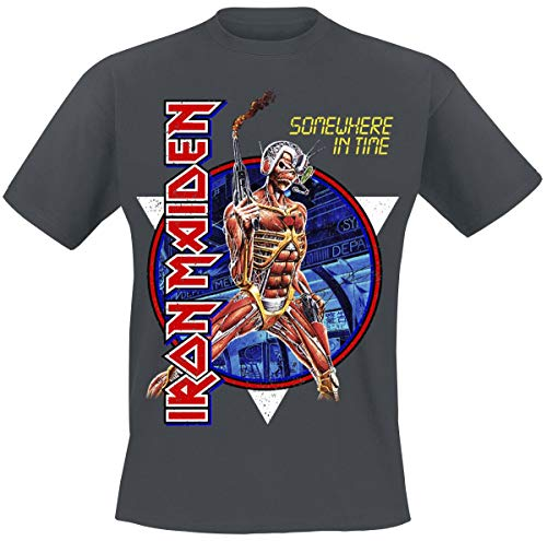 Iron Maiden Somewhere in Time Homme T-Shirt Manches Courtes Anthracite L