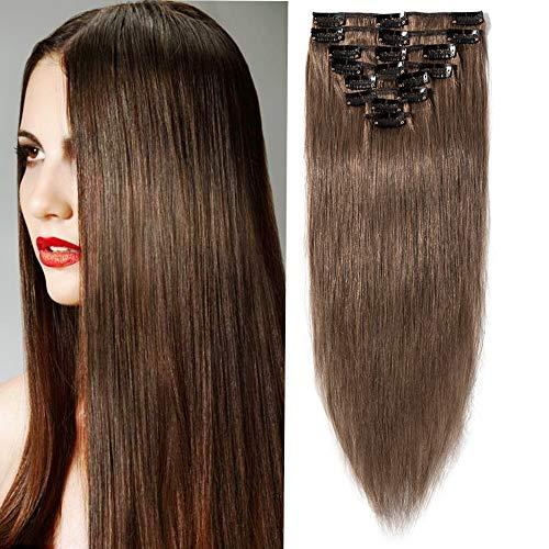 SEGO Clip in Hair Extension Cheveux Naturel Humain Meche Remy - 35 CM 06#Noisette - [Mini Volume] Lisse Raide 100% Human Hair