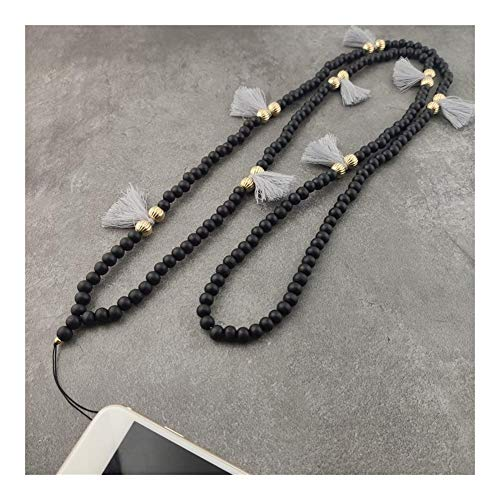 chenran Gift 9 Color Mobile Phone Lanyard Strap Wood Bead Tassel Hanging Neck Rope Telephone Belt Hang Chain Bracelet Accessories (Metal Color : Black)
