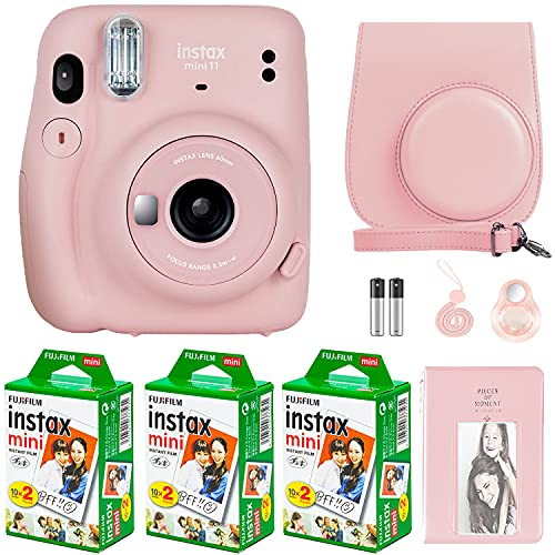 Fujifilm Instax Mini 11 Camera with Fujifilm Instant Mini Film (60 Sheets) Bundle with Deals Number One Accessories Including Carrying Case, Selfie Lens, Photo Album, Stickers (Blush Pink)