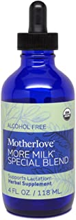 Motherlove More Milk Special Blend Alcohol Free Tincture (4oz) Herbal Lactation Supplement w/ Goat's Rue to Build Mammary ...