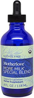 Motherlove - More Milk Special Blend Alcohol Free, Herbal Breastfeeding Supplement w/Goat's Rue, Supports Mammary Tissue Development & Breast Milk Supply, Liquid Tincture with Organic Herbs, 4 oz.