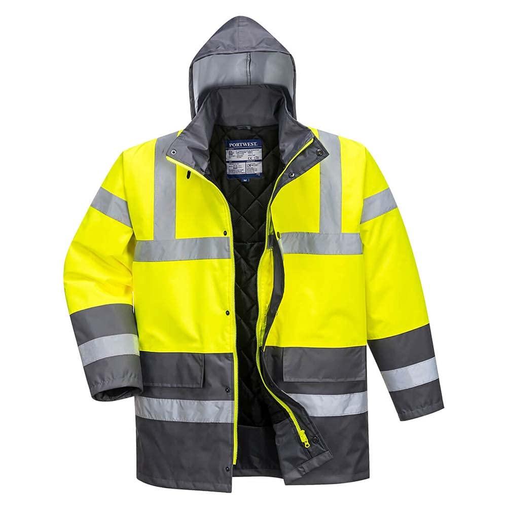 Portwest Workwear Mens Contrast Traffic Jacket YeGrey Small