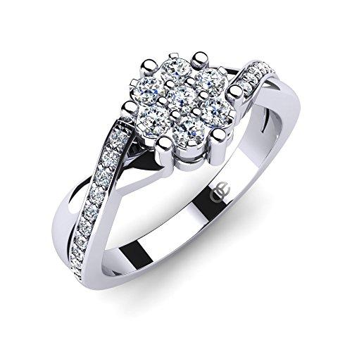 Moncoeur Damen-Ring Rose Verlobungsring 925 Sterling Silber Mit Zirkonia Swarovski Silber Verlobungsringe Gr. 54