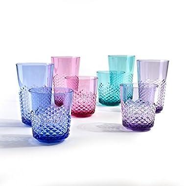 Cupture Diamond Plastic Tumblers BPA Free, 24 oz/14 oz, 8-Pack (Assorted Colors)