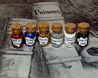 Davitu 12pcs/lot Evil Queen Magic Spell 6 Vials of Wicked Ugliness Peddler Potion, Mini Magic Snow White Bottle Charms - (Metal Color: Blast of)