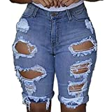 xoxing Women Plus Size Jeans Denim High Waist Elastic Hole Leggings Short Pants Denim Shorts Ripped Jeans (A)