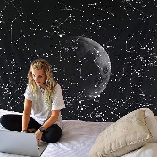 Dremisland Indisch Hippie Bohemian Mandala Wandteppich Wandbehang Tapisserie schwarz für Wohnzimmer Schlafzimmer Wohnheim Dekor (Konstellationen Karte, L / 148 X 200 cm(58
