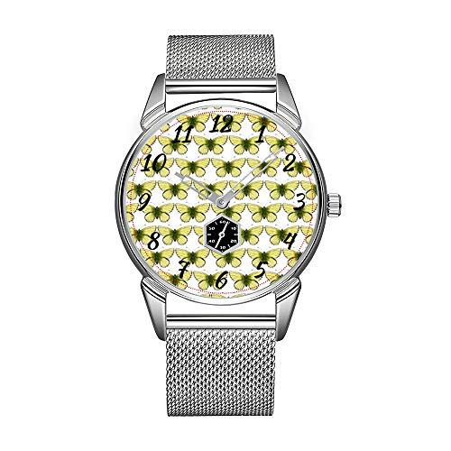 Mode Herrenuhr silbrig Edelstahl wasserdicht Uhr Herren Top-Marke Herrenuhr Uhr Citron Butterflies Armbanduhr
