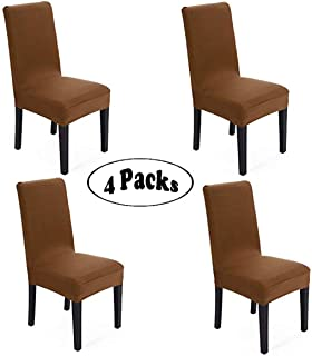 She Yang Spandex Fabric Stretch Removable Washable Dining Room Chair Cover Protector Seat Slipcovers Set Of 4 (Coffee, 4)