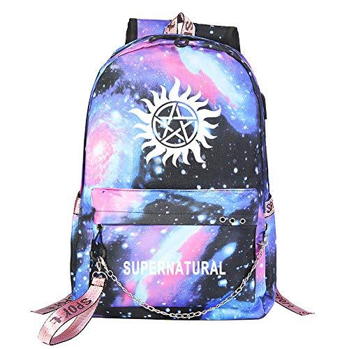 Supernatural Freizeitrucksack Computer-Rucksack Wasserdicht Daypack Grund Schulranzen for Mann und Frau Unisex (Color : Blue02, Size : 32 X 15 X 45cm)