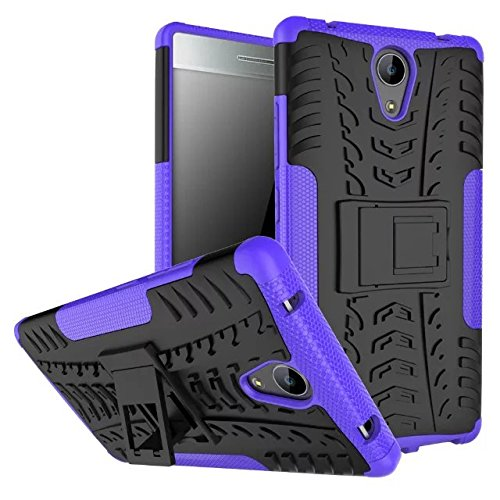 Sunrive para Lenovo Phab 2 6,4 Pulgadas Funda, Fuerte Híbrido de Doble Capa Cubierta Resistente con la Función de Soporte Choque Absorción Funda Gel Carcasa Case Bumper(púrpura) + 1 x Lápiz óptico