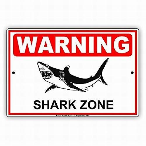 Fluse Shark Zone with Graphic Beach Surfer Safety Protection Alert Attention Vintage Metal Art Chic Retro Metal Cartel de Chapa 8x12 Pulgadas Signos de Metal
