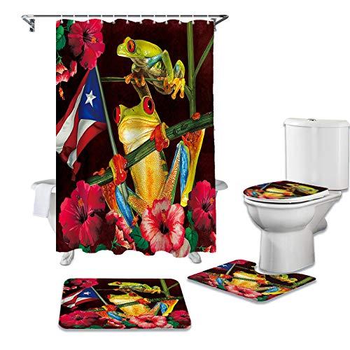 BANLV Trunk Puerto Rico Flag Frog Juego de Cortina de Ducha Alfombra Antideslizante Cubierta de Inodoro y baño Alfombra Antideslizante Cubierta de Cortina de baño
