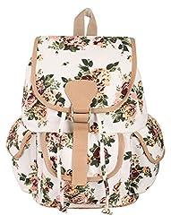 Crafts My Dream Womens Backpack Handbags Beige Rose Print Cmd176
