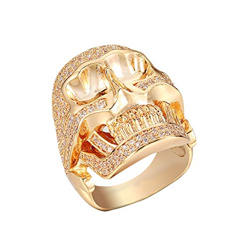 jieGorge Rings, Creative Trend Neutral Skull Ring Reveals Your Unique Personality At Size 7, for Christmas Day (Gold)