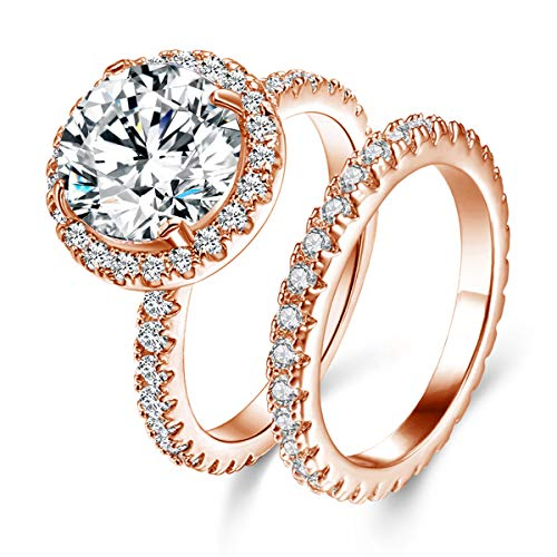 JIANGYUE Classic Engagement Wedding Bridal Sets Ring for Women, 3 Ct 8 Heart 8 Arrow White AAA Crade Cubic Zirconia Rings, Rose Gold Big Main Stone Cocktail Halo Mothers Day Gifts Rings Size 7