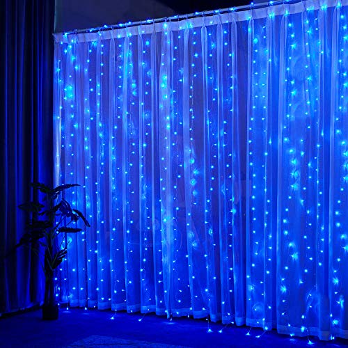 YINUO LIGHT Tenda Luci Led, Tenda Luminosa 300 Led 3mx3m, Luci Stringa Cascata Impermeabile 8 Modalità Dimmerabile, Funzione Memoria e Timer per Decorazione Feste Natale (Luce blu)