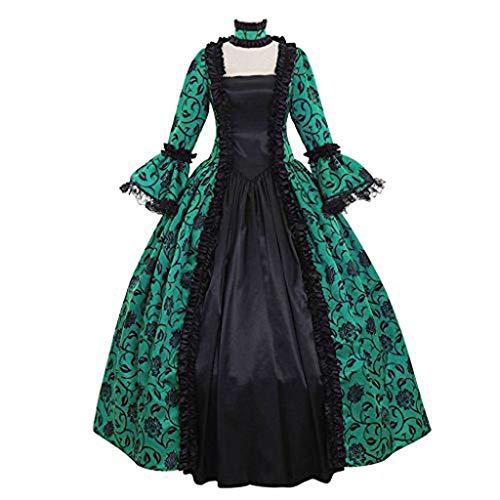 NHNKB Disfraz de mujer medieval gtico, elegante, retro, vestido victoriano, renacimiento, princesa, barroco, rococ, Halloween, carnaval, cosplay, vestido de noche, color verde