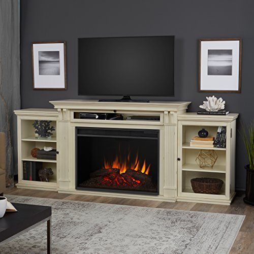 Real Flame 8720E-DSW Tracey Grand Entertainment with Electric Fireplace, Large, Distressed White