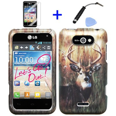 4 items Combo: Mini Stylus Pen + LCD Screen Protector Film + Case Opener + Outdoor Wild Deer Grass Camouflage Design Rubberized Snap on Hard Shell Cover Faceplate Skin Phone Case for LG Motion 4G MS770 - Metro PCS / LG Regard LW770 - Cricket / LG Regard LW770