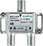 Axing BVE 2-01PDistributore 2 uscite partitore TV via cavo CATV Multimedia DVB-T25-1218MHz metallo