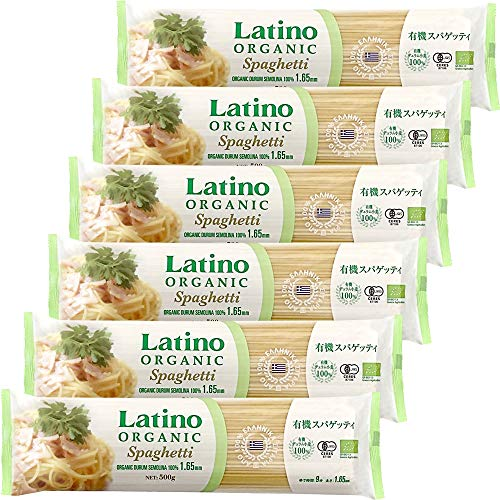 Latino (ラティーノ) オーガニック 有機 ブロンズ スパゲッティ [ ギリシャ産 1.65mm ゆで時間9分 有機JAS認証 ] 500g ×6個