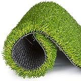 ALYR Gazon Artificiel Moquette, Épais Pelouse Herbe Artificiel avec Trous de Drainage Tapis Type Pelouse Synthétique Tapis d'herbe (20 mm) Moquette d'extérieur,Green_12x24ft/4x8m