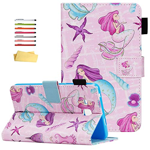 UUcovers Folio Case for Samsung Galaxy Tab E 8.0 inch 2016 Tablet (Model SM-T375/T377) with Stand Pencil Holder Card Pockets PU Leather Smart Auto Wake/Sleep Magnetic Cover, Purple Mermaid Starfish