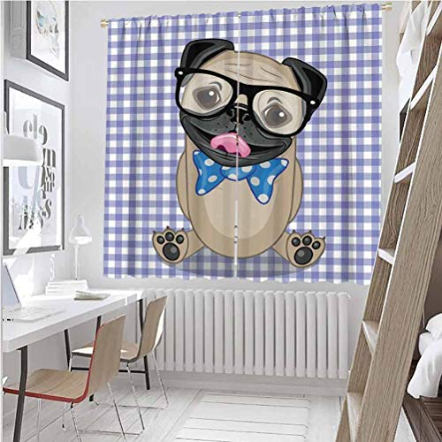 Pug All season insulation Nerdy Glasses and Dotted Bow Tie on a Puppy Pug with a Checkered Backdrop Noise reduction curtain panel living room W63 x L72 Inch Sand Brown Black Blue