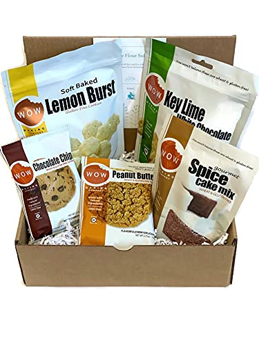 Wow Baking Company Gluten Free Cookie and Cake Bundle with 2 - 8oz. Bags of Cookies, 2 Large 2.75oz. Cookies, 1 – 11oz. Spice Cake Mix, & a Gluten Free Flour Substitute Suggestion Card - 6 Items in This Bundle.