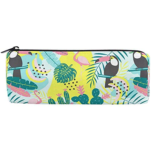 Ananas Flamingo Barrel Potlood Tas, Tropische Palm Leaf Bloemen Pen Potlood Pouch Case Houder Make-up Cosmetische Opbergtas Stationery Reizen