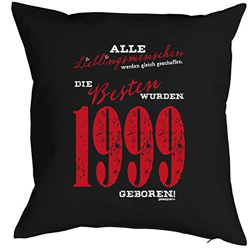 zum 18. Geburtstag Geschenkidee Kissen mit Füllung Lieblingsmensch 1999 Polster zum 18 Geburtstag für 18-jährige Dekokissen mit Urkunde