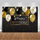 Mocsicka Happy Birthday Party Backdrop 7x5ft Black and Gold Balloon Birthday Photo Backdrop Golden Little Star Background Photography Backdrop