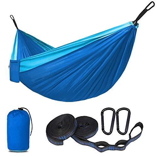SUNNY GUARD Hamaca Doble y Individual Ultraligera Estilo paracaídas de Nylon Hamacas para Acampada,Senderismo, Playa,Jardinería y Viaje,300 X 200cm Azul Cielo y Azul
