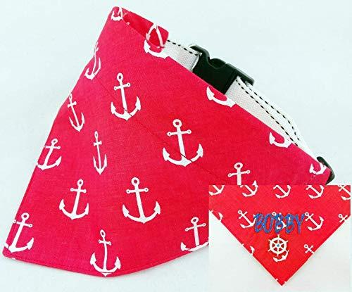 Hundehalstuch als Halsband Verstellbar optional mit Wunsch Namen bestickt Maritim rot Halstuch Tuch