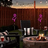 2-Pack Sveiks 30 Inch Tall Flamingo Solar Stake Lights with Neon Pink Lighting