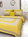 UNIBLISS Cotton Comfort 151 TC Rajasthani Jaipuri Traditional King Size 1 Double Bedsheet with 2...