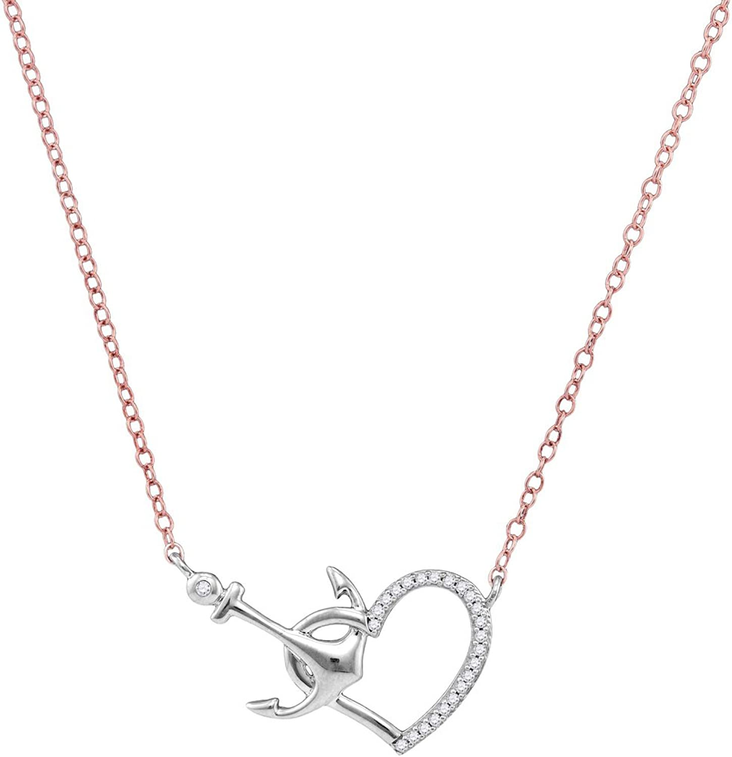 10kt White gold Womens Round Diamond Heart & Anchor Pendant Necklace 1 12 Cttw