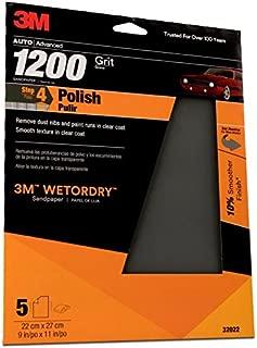 3M 1200 Grit Imperial Wetordry Sandpaper Sheet, 9in x 11 in, Pack of 5