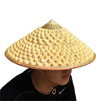 SUNNYHILL TM Chinese Oriental Bamboo Straw Cone Garden Fishing Hat Adult Rice Hat  Style 1