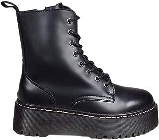 Bosanova Botas Estilo Militar con Plataforma y Cordones a Conjunto para Mujer, Negro, Burdeos, Blanco, 36-41 EU