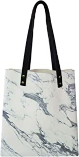 Women's Soft PU leather Tote Shoulder Bag, Antique Marble Textured Ocean Style Organic Granite Rock Formation Art Print,Big Capacity Handbag Hobo bag, Satchel Purse
